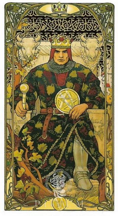 Золотое Таро Арт Нуво. Король пентаклей