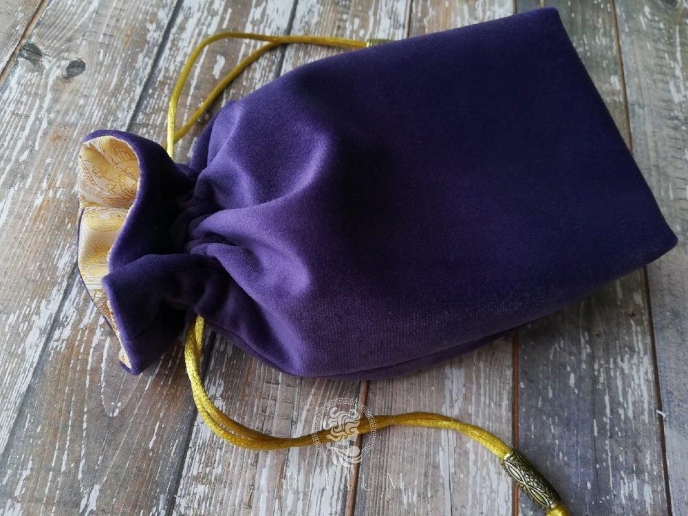 Мешочек для карт Таро Сиреневый бархат с золотом