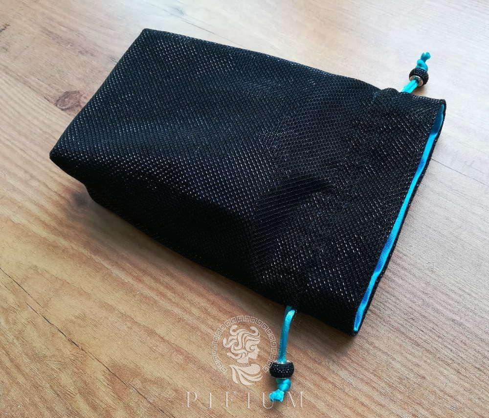 Мешочек для карт Таро Черный мерцающий с бирюзой