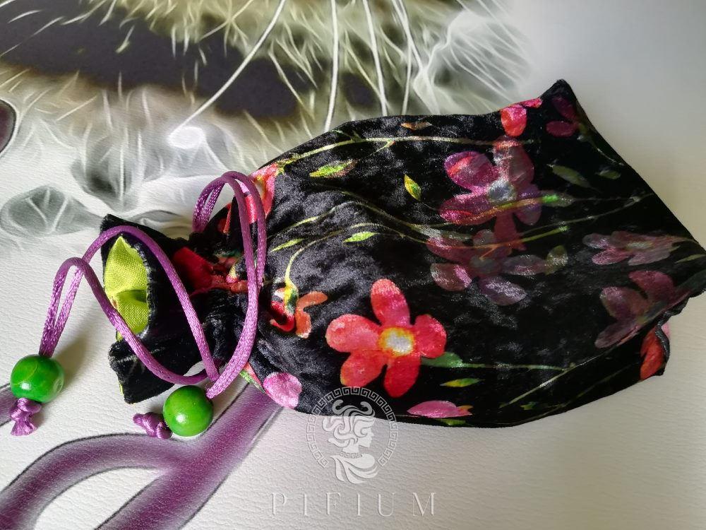 Мешочек для Таро Черный цветочный бархат с салатовым