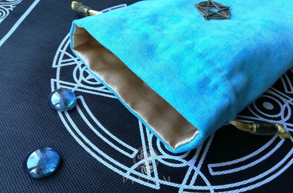 Мешочек для карт Таро Голубой с пентаграммой