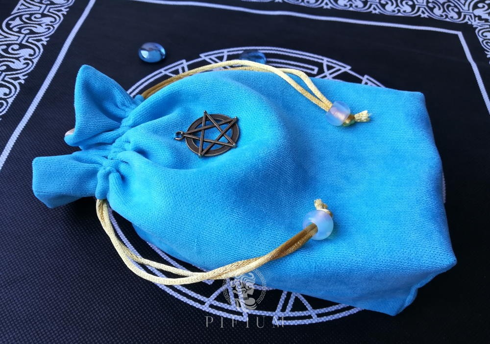 Мешочек для карт Таро Голубой с лунным камнем