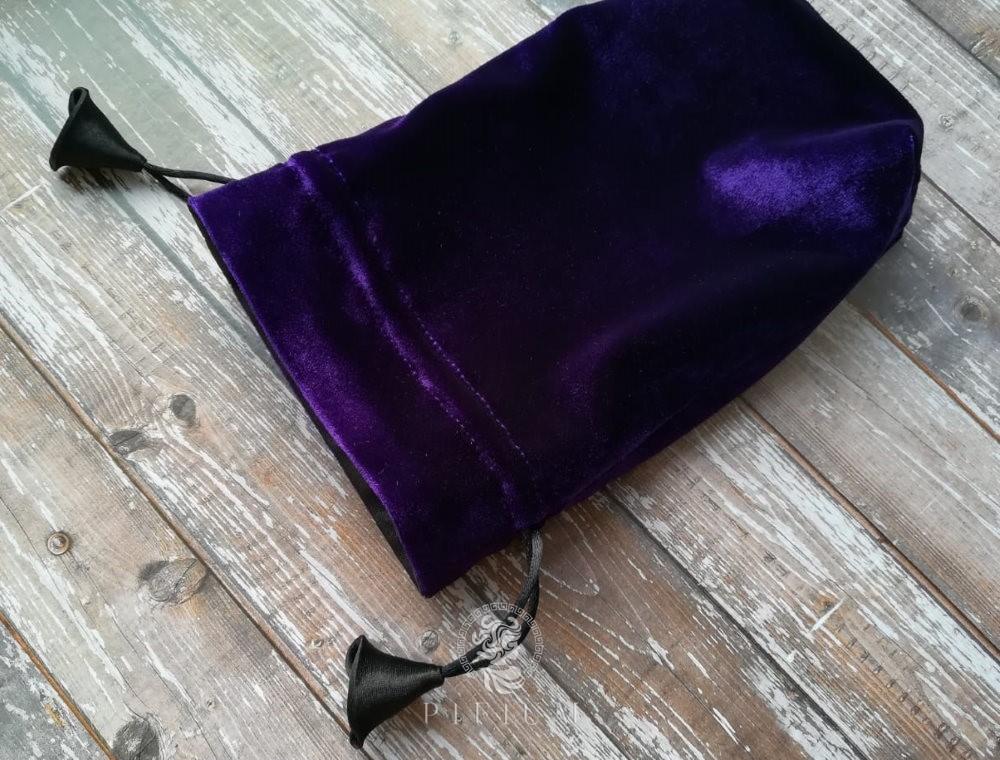 Мешочек для карт Таро Фиолетовый бархат и черный атлас