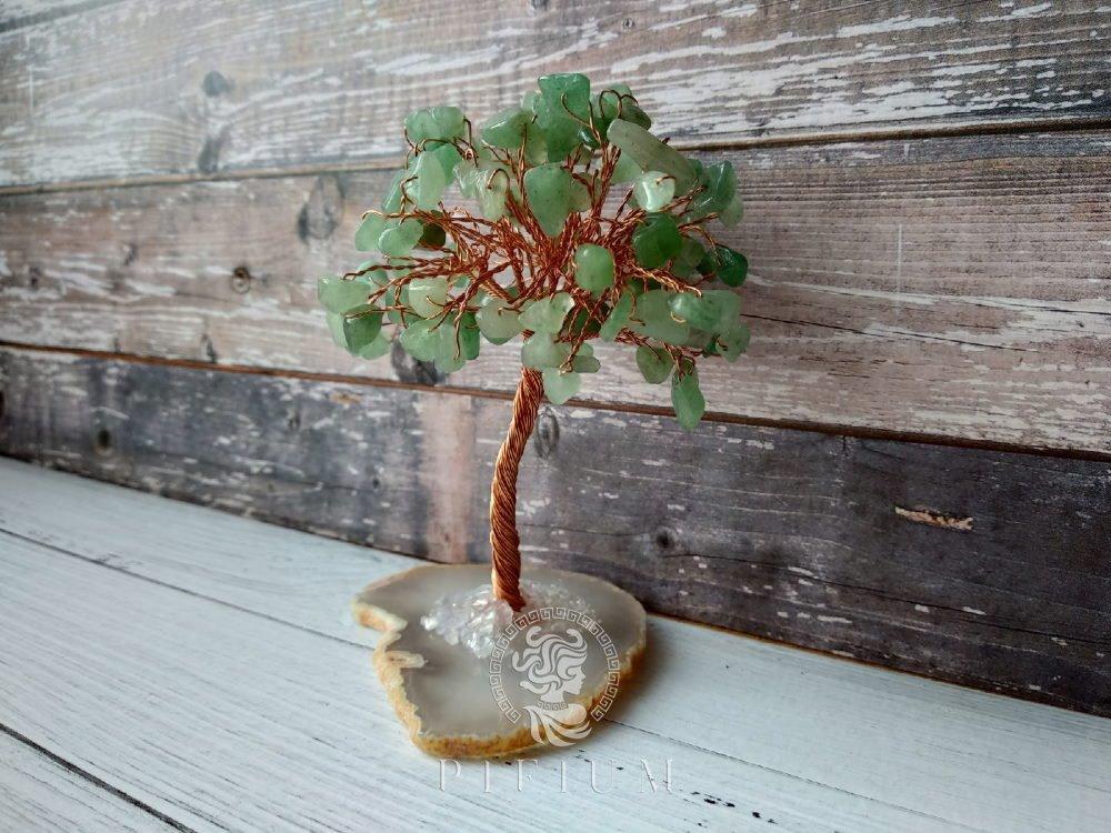 Дерево счастья из Нефрита на срезе Агата 65х40х100