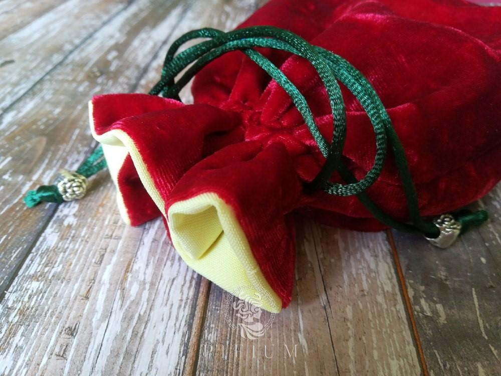 Мешочек для карт Таро Красный бархат и Желтый габардин