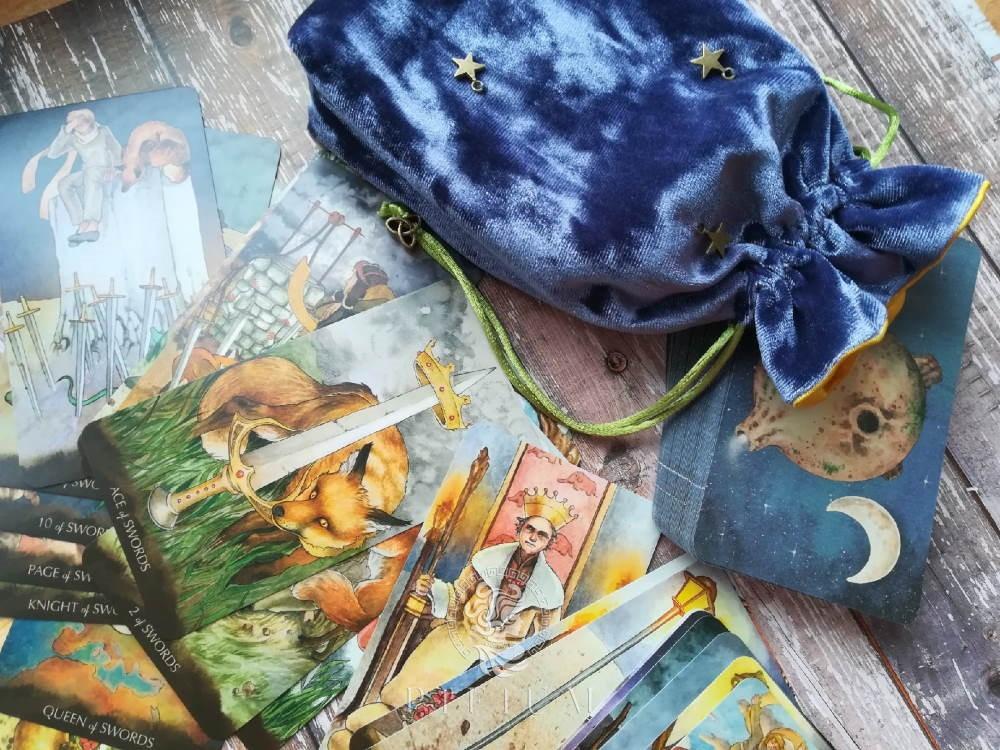 Мешочек для карт Таро Маленького Принца (желтый атлас)