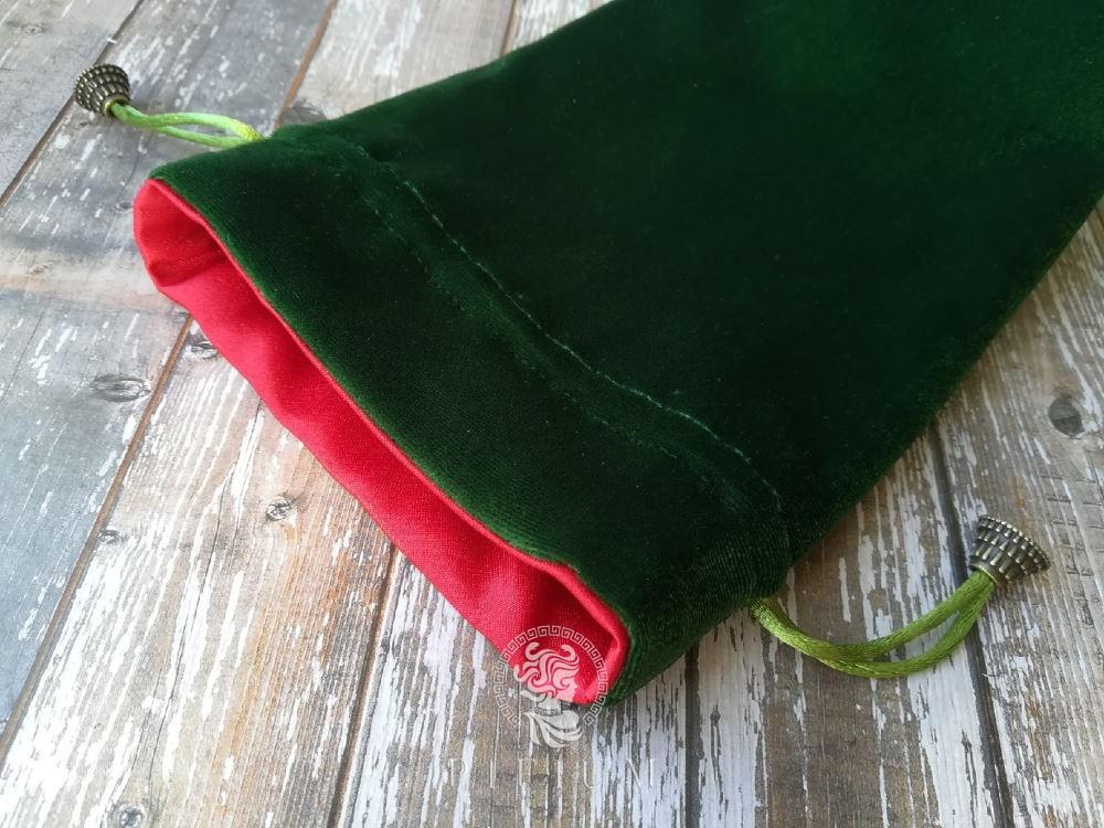 Мешочек для карт Таро Зеленый бархат и красный атлас